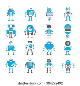cute robot icon set, artificial intelligence concept