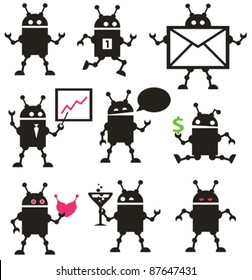 Cute robot icons black and white. Vector set.