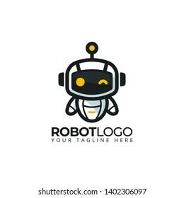 cute robot mascot logo template design. vector