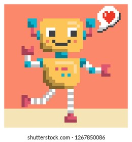 cute robot pixel art