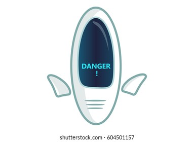 Cute Robot saying DANGER. Vector Illustration. Isolated on white background.