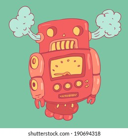 cute robot toy with steam from the ears, vector illustration, hand drawn