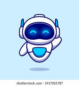 Cute Robot Waving Hand Cartoon Vector Icon Illustration. Science Technology Icon Concept Isolated Premium Vector. Flat Cartoon Style