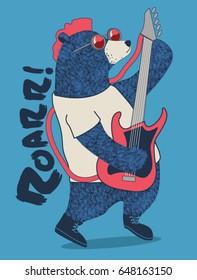 cute rockstar bear playing guitar