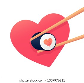 Cute roll. Heart shaped sushi. Love roll. Vector illustration
