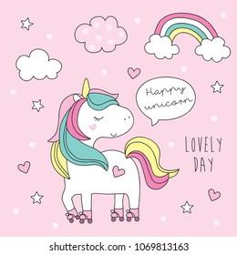 cute roller skater unicorn vector illustration