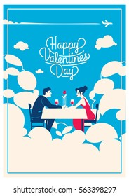 cute romantic card for valentine's day, vector illustration