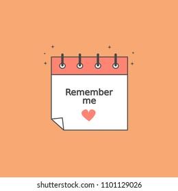 cute romantic cartoon calendar vector icon