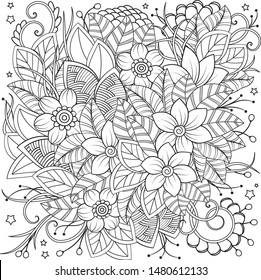 Cute romantic coloring page. Floral composition. Black and white botanical elements.