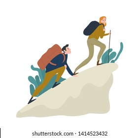 Cute romantic couple climbing up cliff or mountain. Pair of funny hikers, tourists or climbers isolated on white background. Happy boy and girl hiking or trekking. Flat cartoon vector illustration.