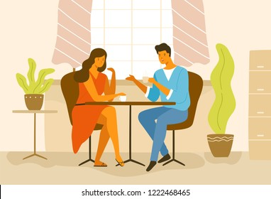 Cute romantic couple sitting at cafe table. Boyfriend and girlfriend drinking coffee and talking. Young man and woman in love on date. Colorful modern vector illustration in flat cartoon style.