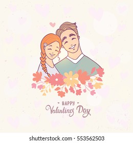Cute and romantic doodle of happy loving couple. Valentines Day. Happy Lovers. Vector illustration. Cartoon people