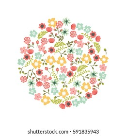 Cute and romantic floral wreath design. Floral wreath decoration for wedding invitation card, newly wed decoration.