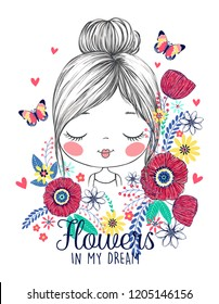 cute and romantic girl and flowers illustration vector graphic