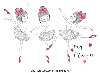 cute and romantic girls vector graphic for t shirt print