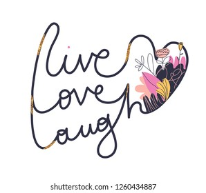 Cute romantic illustration print. Fashionable slogan design for girls. Creative design for T-shirt. Vector EPS 10.