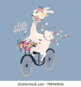 Cute romantic llama, alpaca with floral wreath and hanging flags drive the vintage bicycle, bike with a basket with flowers bouquet. Hello spring lettering