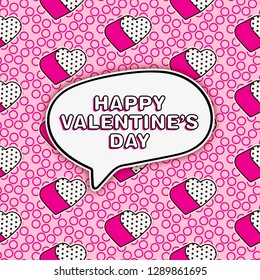 Cute romantic lol doll style greeting card with seamless pattern background for valentine's day or girly designs - repeat pattern with pop art elements
