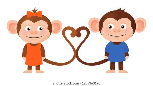 Cute romantic monkey couple, Valentines day cartoon isolated vector illustration