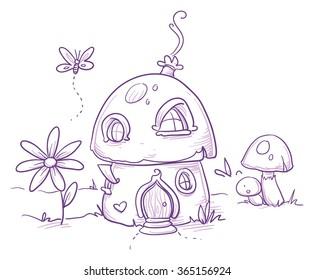 Cute romantic mushroom house for magic fairy or gnome. Hand drawn vector cartoon doodle illustration