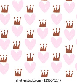 Cute romantic seamless pattern. Repeated striped hearts with crowns and dots. Drawn by hand. Endless girlish print. Girly vector illustration.