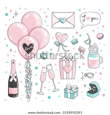 46ebff423ee Cute romantic Stickers Set For Valentine s Day dating. Set of dating items.  Engagement ring