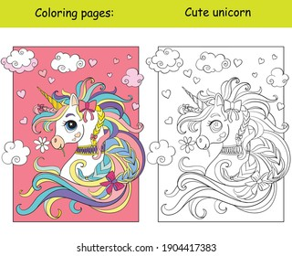 Cute romantic unicorn portrait with hearts in the cloudy sky. Coloring book page wih colored template. Vector cartoon illustration isolated on white. For coloring book, preschool education, print,game