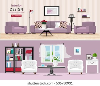 Cute rooms set: cozy classic and modern living rooms with furniture. Stylish interior design: big sofa and armchairs, table, window and bookcase. Vector illustration.