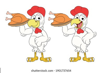 cute rooster animal cartoon, simple vector illustration