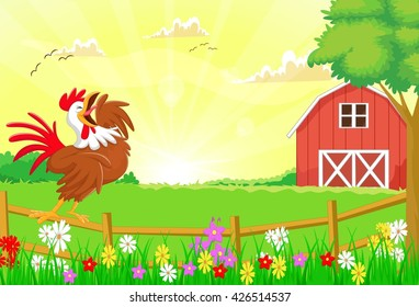 cute rooster crowing in the farm fence