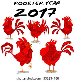 Cute roosters character vector set isolated on white background. Element for design.