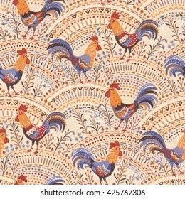 Cute roosters in floral ornament on a beige background. Seamless pattern for your design