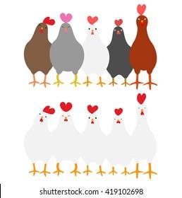 Cute roosters set