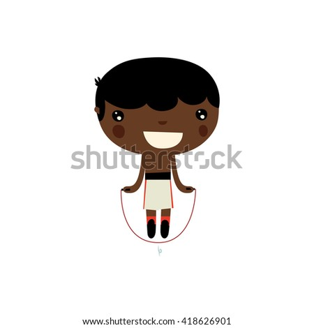 Cute Rope Jumper Black Boy Boxer Stock Vector Royalty Free