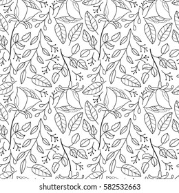 Cute rose floral seamless pattern. Abstract black and white flower seamless pattern. Monochrome simple doodle print