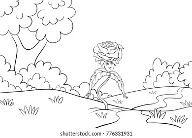 cute rose on a field with trees  for children activities image.Line art style illustration.