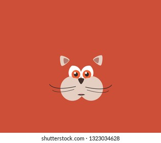 cute round red cat head vector isolated