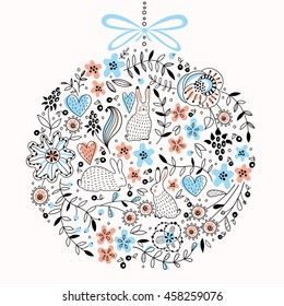 Cute round vector floral pattern with rabbits