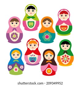 Cute Russian dolls in bright colors.