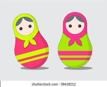 cute russian matrioshka doll