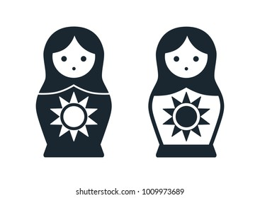 Cute Russian Matryoshka nesting doll folk toy with sun vector icon illustration. Simple single color contemporary style design element isolated on white. Summer, weather, seasons concept.