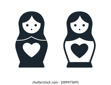 Cute Russian Matryoshka nesting doll folk toy with heart vector icon illustration. Simple single color contemporary style design element isolated on white. Love, family, Valentine's day theme concept.
