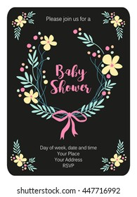 Cute rustic frame with hand drawn flowers for your decoration, ideal for baby shower, baptism, wedding, sweet 16, birthday card etc