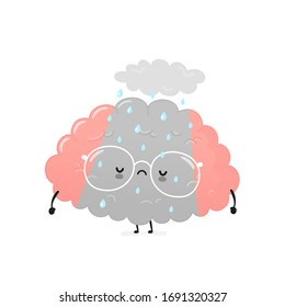 Cute sad depressed human brain. Vector cartoon character illustration icon design.Isolated on white background