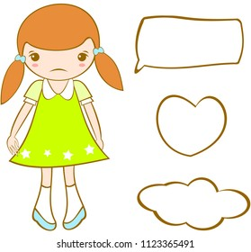 Cute sad girl with hairstyle two ponytails. Vector.