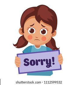 "cute sad girl holding a sign with the text ""Sorry!"" cartoon vector illustration."