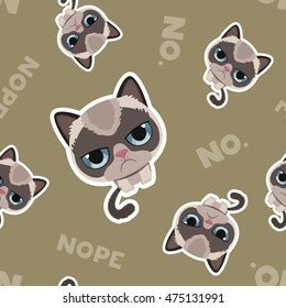 Cute sad grumpy cat in material design style. Vector cat pattern. Seamless pattern with cat. Pattern for an unusual gift.