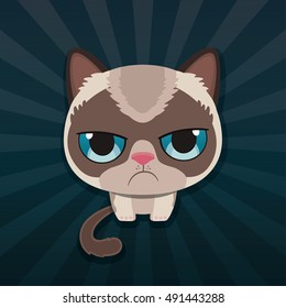 Cute sad grumpy cat. Vector Illustration.