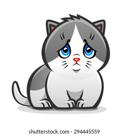 Cute and sad kitten with the blue eyes.