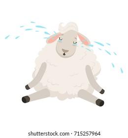 Cute sad white sheep character crying, funny humanized animal vector Illustration